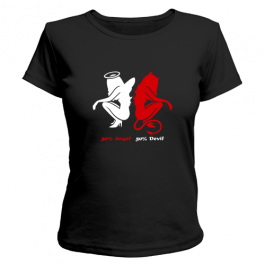 Женская футболка Наполовину ангел, наполовину дьявол